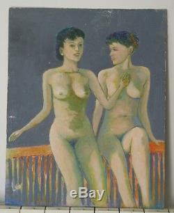 Old Painting Oil Painting Nude Women Signed Leo On Panel