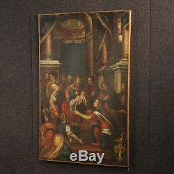 Old Painting Oil Painting On Canvas 1700 Religious Presentation At The Temple