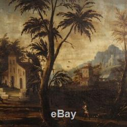 Old Painting Oil Painting On Canvas Frame Landscape Characters Italian 700