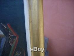 Old Painting Oil Painting On Canvas Young Boy Playing Accordion