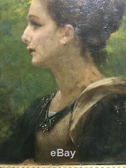 Old Painting On Panel Henri Pinta (1856-1944) Symbolist Woman