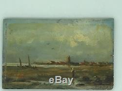 Old Painting On Wood Pattern Landscape And Character Of Breton Type, Holland