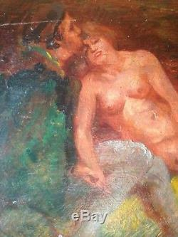 Old Painting Paul Dangmann (1899-1947) Scèhe Erotique Oil On Panel Signed
