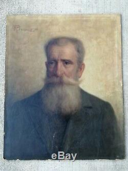 Old Painting Portrait 1916 Oil On Panel Sign Pennazio Augusto Italy