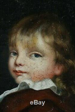 Old Painting Portrait Of XVIII XIX Child Oil On Canvas French School