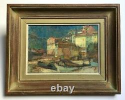 Old Painting Signed And Dated 51, Oil On Canvas, Menton, Box, Middle 20th Century