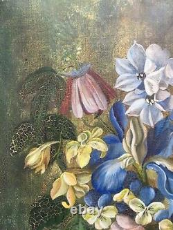 Old Painting Signed Ch. Summer, Oil On Canvas, Still Life, Bouquet, Xxe Flowers