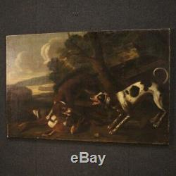 Old Paintings Oil On Canvas 18th Century Hunting Scene Landscape