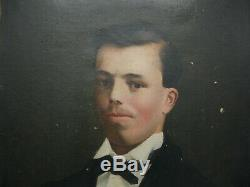 Old Portrait Of Young Man, Oil On Canvas, Xixth