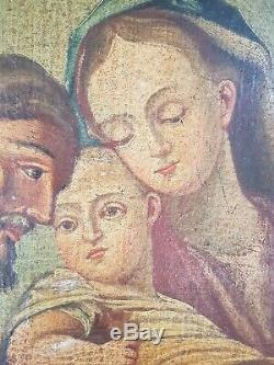 Old Religious Oil Painting On Canvas Time XVIII