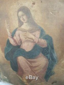 Old Religious Painting, XIX S Representing A Saint, Oil On Canvas