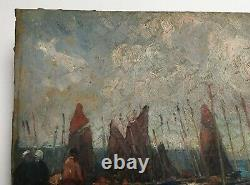 Old Signed Table, Oil On Cardboard, Brittany, Boats At The Port, Early 20th