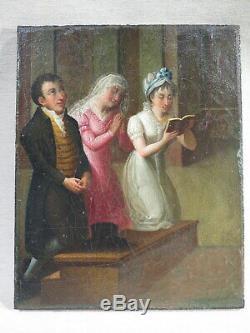 Old Small Table Oil On Canvas Action De Grace Management Epoque Prayer