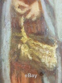 Old Table Children On A Path Painting Oil Canvas Antique Oil Painting
