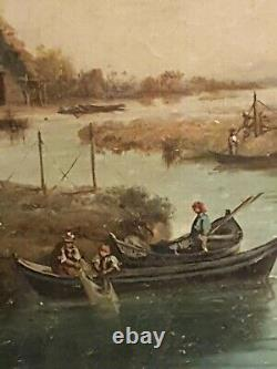 Old Table, Fishermen, Oil On Canvas, Gilded Frame, Signed To Be Deciphered