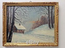 Old Table Impressionist Landscape Effect Snow Oil On Cardboard Signed