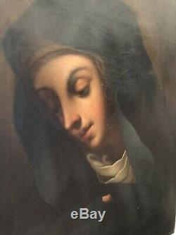 Old Table Madonna Oil On Canvas Painting Old Rare