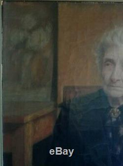 Old Table Oil On Canvas Elegant Old Woman Sitting Late Nineteenth Early Twentieth