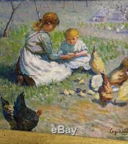 Old Table Oil On Canvas Girls Age Chickens Chicks Nineteenth