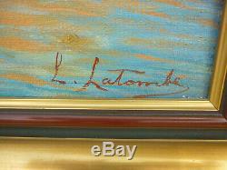 Old Table Oil On Canvas Marine Landscape South Port Marine Boat Signature