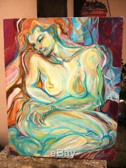 Old Table Oil On Canvas Nude Female Nude Female Signature Entem