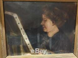 Old Table, Oil On Canvas, Portrait Of Woman, Painter, Painting, Star