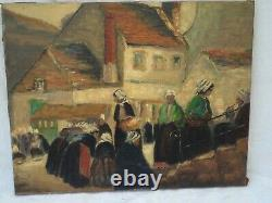 Old Table Oil On Canvas Rural Stage Breton Market