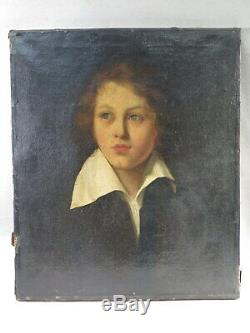 Old Table Oil On Canvas Young Man In Great Neck Period End XVIII