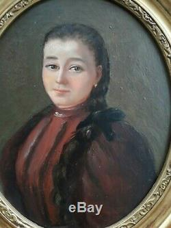 Old Table Oil On Panel Nineteenth French School Portrait Of A Young Girl