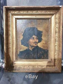 Old Table, Oil On Panel, Portrait Of Man, Xix, Painting, Frame Empire