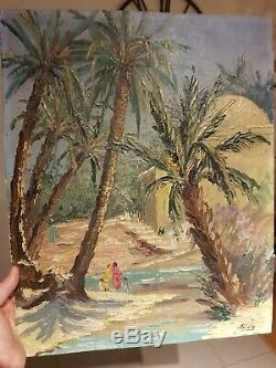 Old Table Orientalist Oil On Panel 1950 Costal Old Jl Painting