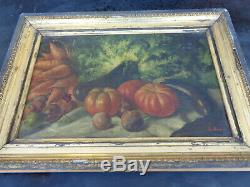 Old Table Painter On Canvas Painting Dead Nature Frame Pumpkin Signed