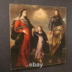 Old Table Religious Oil Painting Holy Family 18th Century