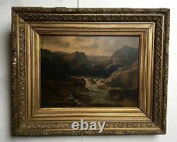 Old Table Signed Baker, Oil On Panel, Mountain, Frame, 19th