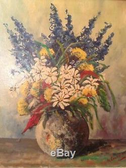 Old Table W Lambrecht (xix-xxth) Bouquet Of Flowers Oil On Canvas Signed