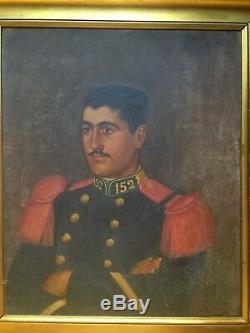 Old Table XIX Portrait Young Military Oil On Canvas 19th