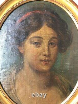 Old Time Early XIX Century Female Portrait Oil Painting On Cardboard