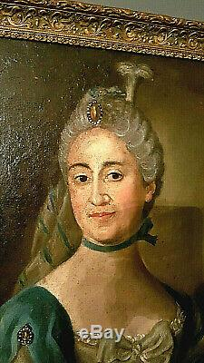 Old Time Table XVIII Portrait Oil On Canvas Period Louis XV