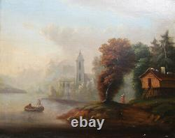 Old Very Beautiful Painting, Mid-19th Century, Oil On Canvas Fisherman Landscape Barbizon