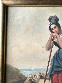 Old Woman Portrait Bergère Oil On Canvas 19th 19th Time