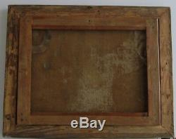 Old Wood Frame Dore Painting Oil On Canvas Herd Cows, Sheep