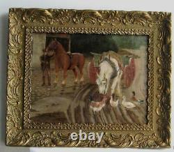 Old Wood Frame Dore Painting Oil On Canvas Horses And Hens