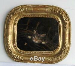 Old Wood Frame Dore Painting Oil On Canvas Kitten And Butterfly