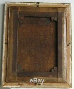 Old Wood Frame Dore Painting Oil On Canvas Peasant And Donkey