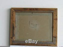 Old Wood Frame Dore Painting Oil On Canvas Two Cats