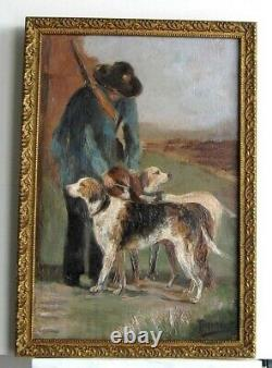 Old Wood Frame Dore Painting Oil On Web Hunter And His Dogs