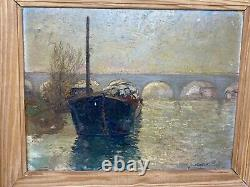 On The Seine & Sartrouville & Boat & Oil On Panel & Ancient Painting