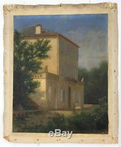 Original Oil Painting On Canvas Old House Was With A Woman