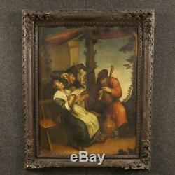 Paint Table Old French Part Oil On Canvas Scene Populair 700 XVIII