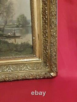 Painting Ancient, Fisherman, Oil On Signed Panel, 19th Century